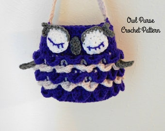 Crochet Owl Purse Pattern, Crochet Pattern, Crochet Owl Pattern, Crochet Child's Purse Pattern, Crochet Purse Pattern, Crochet Bird Pattern