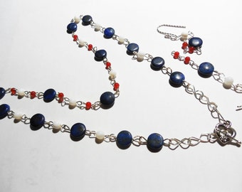 Lapis Lazuli Puffed-Flat-Round Beads with White Jade Beads and Tiny Red Glass Beads part of a Handmade Sterling Silver Necklace