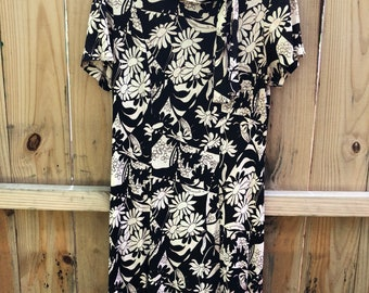 60s Brown and White Floral Mod Polyester Dress AS IS