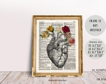 Anatomy Poster Gift, Anatomical Heart, Medical Student Gift, Gift for Doctor, Anatomy Heart Print, Human Anatomy Poster