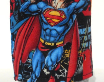 Handmade Reusable Superman Fabric Beer/Soda Can Cozy