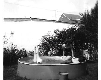 "Vintage Snapshot ""Underwater Handstand"" Upside Down Pair Of Legs In Backyard Pool Black & White Found Photo Strange Vernacular Photography"