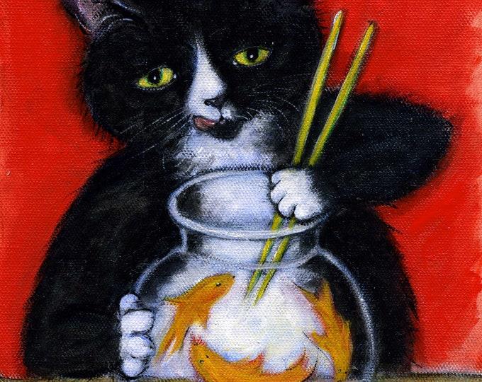 Tuxedo Cat cards. Sashimi Time. Set of 5