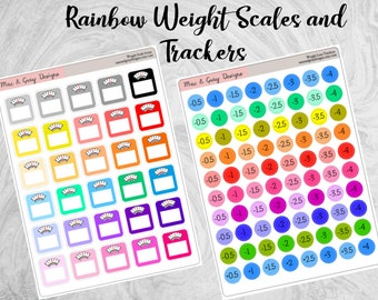 Weight Loss Stickers for Planners | Weight Scale Stickers | Weight Loss Trackers | Diet Trackers | Happy Planner Erin Condren Diary Stickers