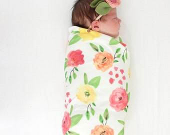 Organic Cotton Swaddle Blanket in Summer Wildflowers - Pink, Peach and Yellow