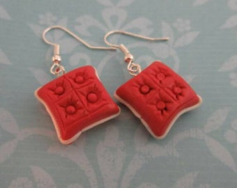 throw pillow earrings polymer clay - interior design - tufted cushions
