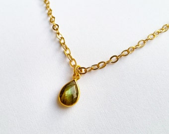 Labradorite teardrop necklace, metal chain in gold finish