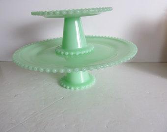 Candlewick Jadeite Cake Plates Cupcake Stands Cupcake Plates Pedestal Cake Plate Jadeite Green Glass Jadeite Kitchen Decor 90s Repro Jadeite