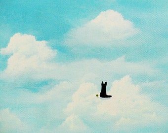 Black German Shepherd Dog Folk art Print Todd Young IN THE CLOUDS