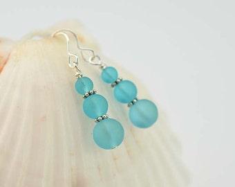 Blue sea glass earrings sea glass jewelry blue seaglass frosted glass beach glass mermaid tears bridesmaids jewelry bridesmaids earrings