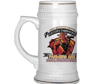 22 oz Ceramic Beer Stein Farmer Mug All Men Are Created Equal Except Farmers