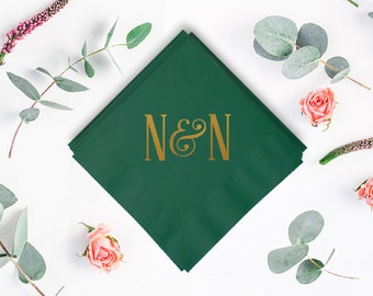 Custom Initial Wedding Napkins - Foil Stamped Napkins