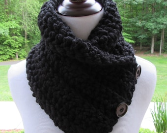 Black Chunky Cowl, Crochet Button Cowl, Boston Harbor Scarf, Handmade, Wool Blend, Winter Accessory, Women's Gift, Black Crochet Scarf, Gift