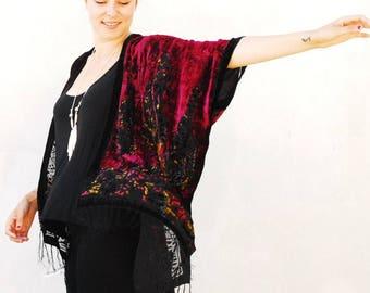 Velvet Kimono: Burgundy, Black and Gold Gypsy Fortune Teller Paisley Velvet Burnout Fringe Kimono Cover Up