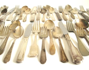 Tarnished Silverware Mismatched Silverplate Silver Teaspoons, Soup Spoons, Dinner Forks, Salad Forks, Knives, Rediscovered Flatware Set