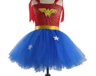 WONDER WOMAN TUTU Dress Handmade Wonder Woman Costume - Size 7T