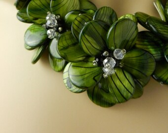 Green MOP Shell Flower Necklace Wire Wrap Necklace Black Quartz Party Necklace with 0.925 Sterling Silver PN19