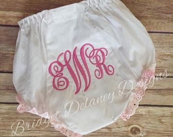 Machine embroidered monogrammed infant/toddler bloomers ruffled diaper cover