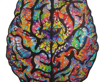 Brain Art, Psychology Art, Neuroscience, Zentangle, Psychedelic, Mandala,  Spiritual Art, Meditiation, Color Pencil Drawing, Original Art