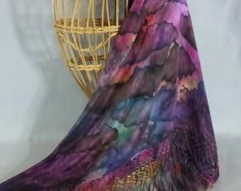 """Silk Fringed Shawl/Scarf """"Cloudy Rainbow"""", Hand Painted Silk Shawl"""