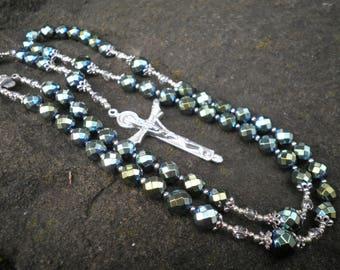 Classic Rosary - Hematite (titanium coated) and Crystal