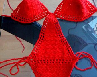 Red crochet monokini- Sexy crochet onepiece swimsuit-Women crochet red lingerie- Beach boho sexy handmade bikini. Fashion monokini swimwear