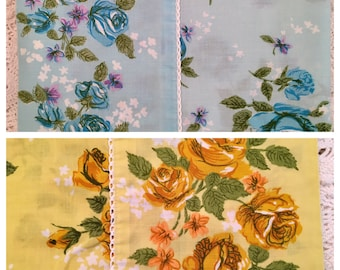 Blue or Yellow Roses Full Flat and Pillowcases - Vintage Monticello - 1970s Bedding - No-Iron Percale