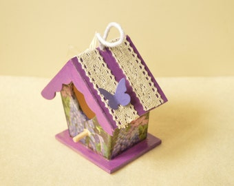 Wooden birdhouse, small birdhouse, decoupage, hanging decoration