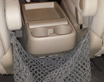 Crochet Net Bag for Storage (for vans or other captain's chair vehicles)