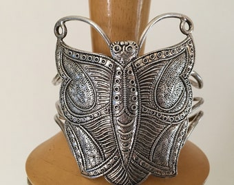 1960s 70s Boho Sterling Butterfly Bracelet 925 India 56 Grams