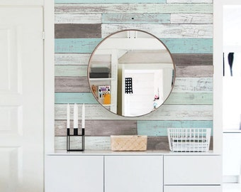 Reclaimed Painted Beach Wood Mural Wallpaper, Beach Wood, Wood Extra Large Wall Art, Peel and Stick Wall Poster