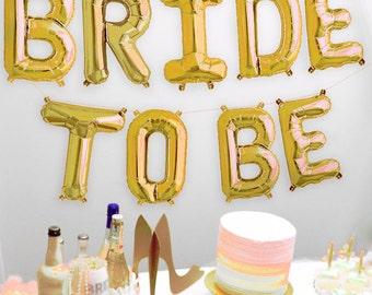 Gold Bridal Shower Banner - Bride Mylar Letters Balloon Kit, Bride balloons, bachelorette banner, bridal shower balloons, Bridal decoration