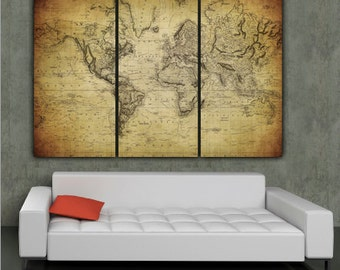 1850 Vintage World Map Art on Canvas - Vintage Map set for home or office art. Large wall art, world map canvas, Map print, Wall decor