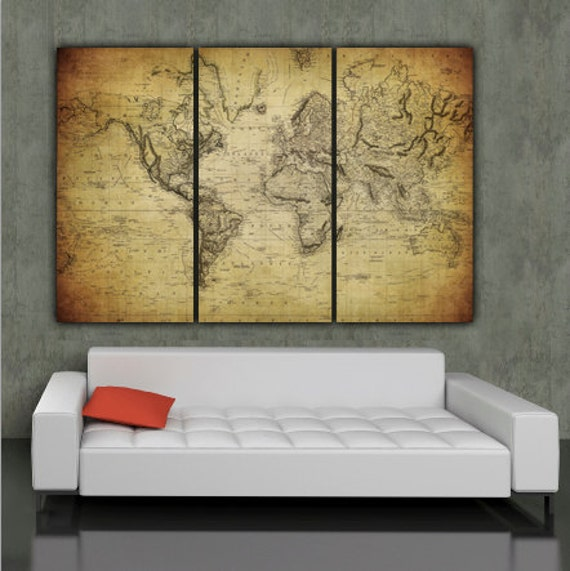 1850 vintage world map art on canvas vintage map set for 1850 vintage world map art on canvas vintage map set for home or office art large wall art world map canvas map print wall decor gumiabroncs Choice Image