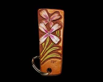 Flower keychains, custom tooled leather key fob, keyring, tooled leather, key holders, white and purple floral