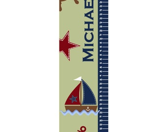 Growth Chart Children Canvas Growth Chart Nautical Nursery Sail Boat