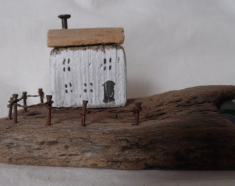 Folk art, driftwood, Cottage, Broomhead, seaglass, sculpture