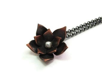 Small Everyday Pendant - Tiny Flower Necklace - Oxidized Lotus Pendant - Copper Flower Necklace - Bridesmaid Gift - Country Wedding