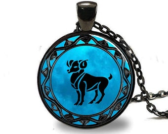 Aries Pendant, Aries Necklace, Aries Jewelry, Aries Charm Black (PD0345)