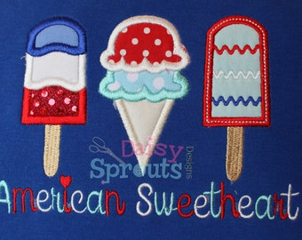American Sweetheart Applique Embroidery Design INSTANT download
