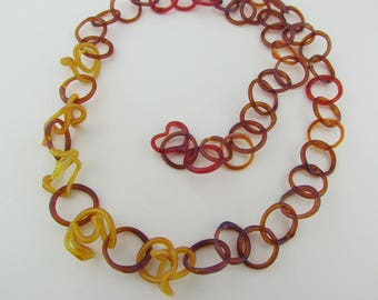 Chainmaille Glass Necklace - Glass Chain necklace - Lampwork - Borosilicate - Unique Jewelry - Red Fall Necklace  - Hand Blown Art Glass