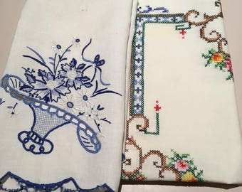 Two Vintage Tray Cloths