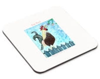 Key West Rooster Print on  Cork Coasters