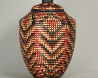Lidded Vessel with Native American Basket Pattern
