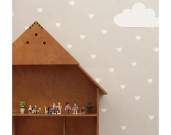 White heart wall decals, heart wall sticker, nursery wall decal