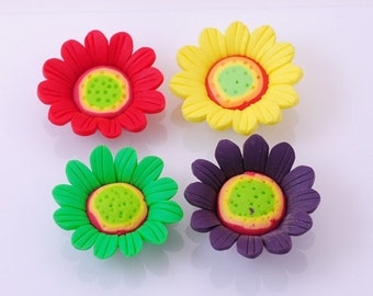 Handmade Fimo polymer clay sunflower bead Set of 8 pcs FM753