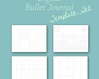 Planner Template Set for Digital Bullet Journal Planner