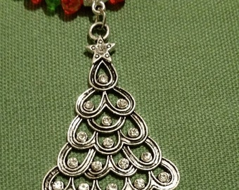 Tibetan silver Crystal Tree pendant Necklace 8 mm Red 6 mm Green crystal beaded glass rondelle bead mothers day Christmas free shipping gift