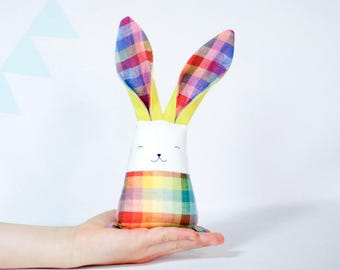 Rainbow bunny rabbit - colorful baby bunny toy.  Baby gift box, stuffed animal toys, Stuffed colorful toys, rainbow tartan, Christmas kids