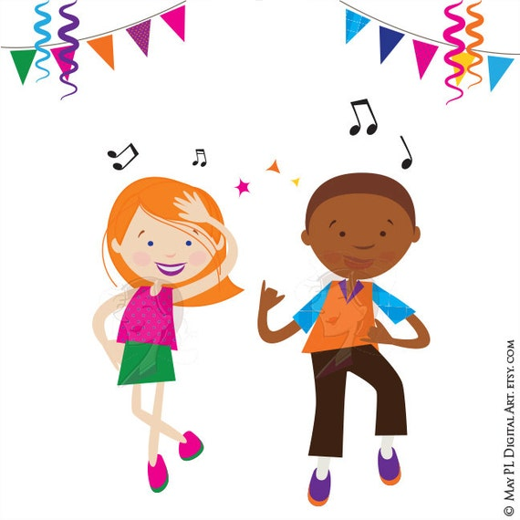 dance clipart disco kids party children boy girl dancing cute rh etsy com clip art dance shoes clip art dance shoes